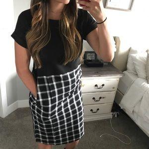 Black Plaid Dress with Pockets